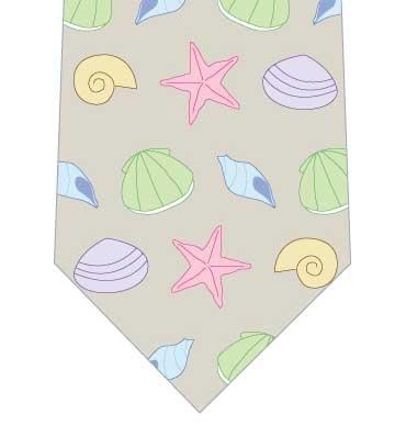 パステルカラーの貝殻ネクタイの写真