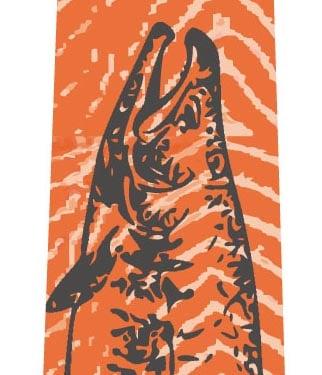 鮭ネクタイ(グレー)の写真