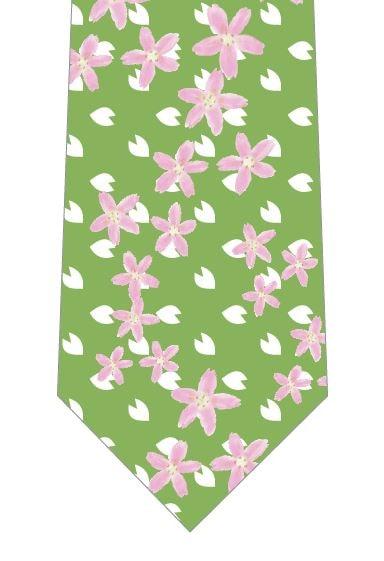 桜の花いっぱいネクタイ(緑)の写真