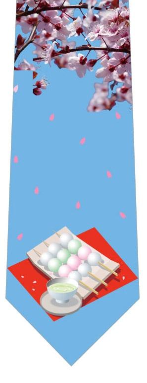 桜と団子ネクタイ(水色)の写真