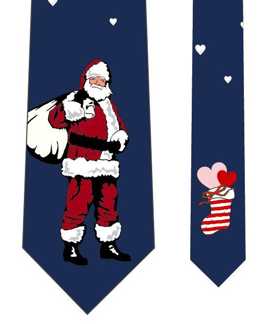 サンタクロースネクタイ(ハートの降るクリスマス)の写真
