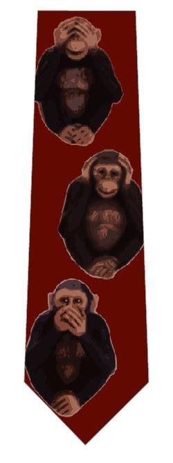 三猿ネクタイ(チンパンジー・茶色)の写真