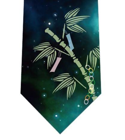笹の葉と星空ネクタイ(緑)の写真