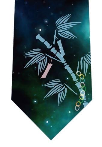 笹の葉と星空ネクタイ(水色)の写真