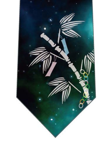 笹の葉と星空ネクタイ(白)の写真