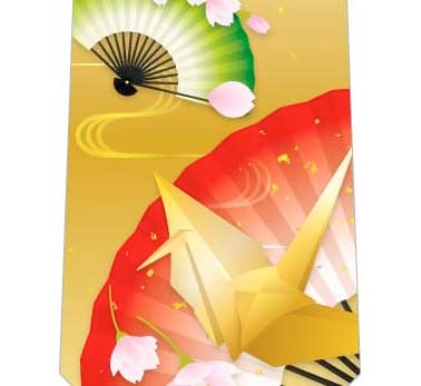 扇子と桜ネクタイの写真