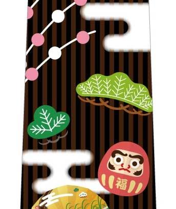 正月雰囲気ネクタイ(茶色×黒)の写真