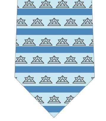 シンプルな兜とボーダー柄ネクタイ(青系)ネクタイの写真