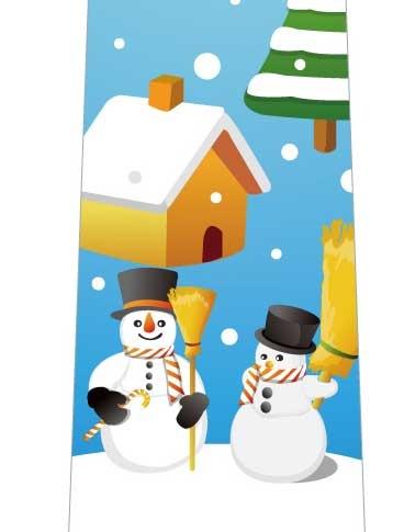 雪と雪だるまネクタイの写真