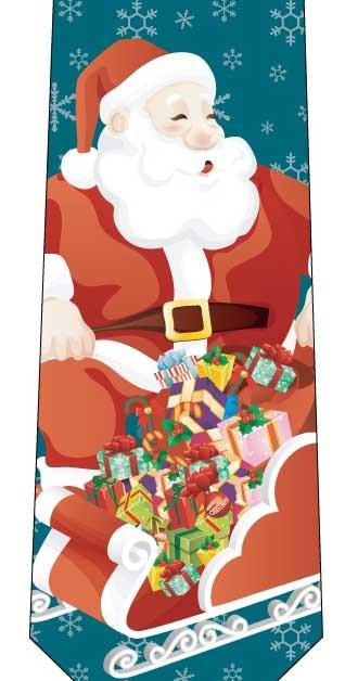 クリスマスネクタイ(ソリにお菓子がいっぱい)緑の写真