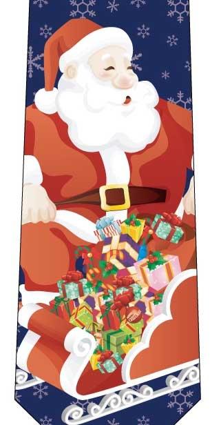 クリスマスネクタイ(ソリにお菓子がいっぱい)紺の写真