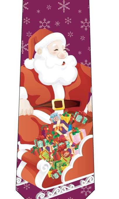 クリスマスネクタイ(ソリにお菓子がいっぱい)ワインの写真