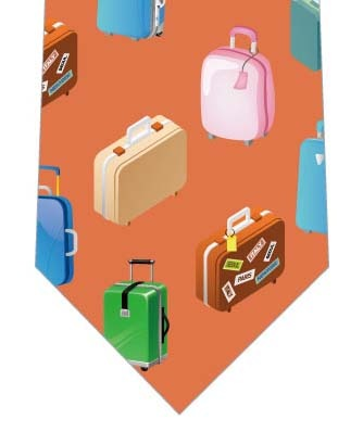 スーツケースネクタイ(オレンジ)の写真