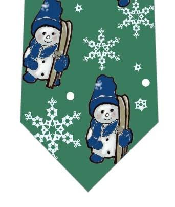 スキーに出かける雪だるまネクタイ(緑)の写真