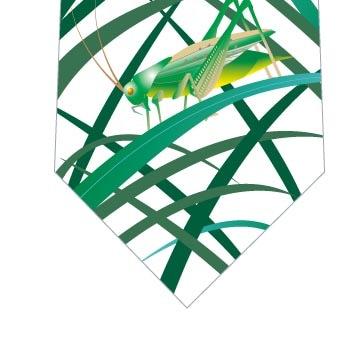 ススキの葉とバッタネクタイ(白)の写真
