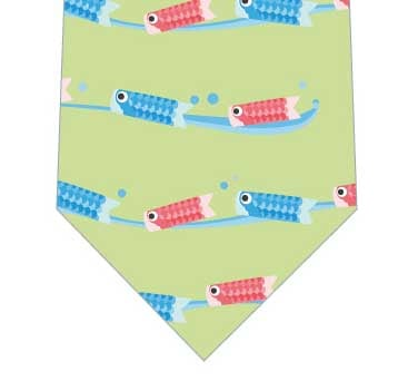 泳ぐ鯉のぼりネクタイ(黄緑)の写真