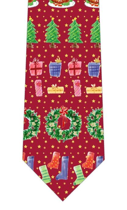楽しいクリスマスネクタイ(紅色)の写真