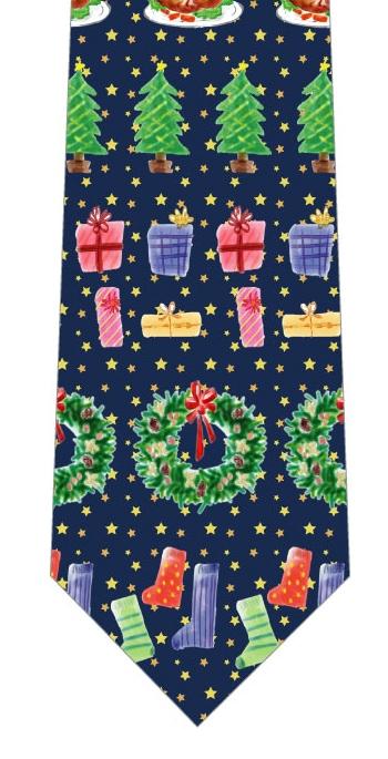 楽しいクリスマスネクタイ(紺)の写真