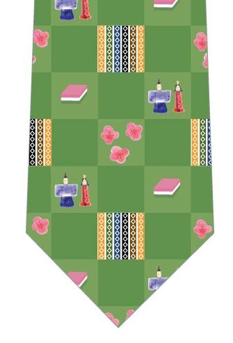 楽しいひな祭りネクタイ(緑色)の写真