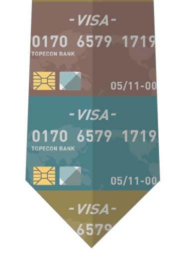 縦に並んだクレジットカードネクタイの写真