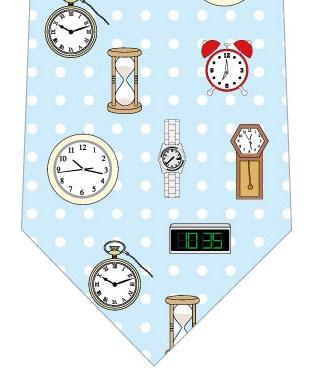 時計ネクタイ(水色ドット)の写真
