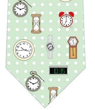 時計ネクタイ(緑ドット)の写真