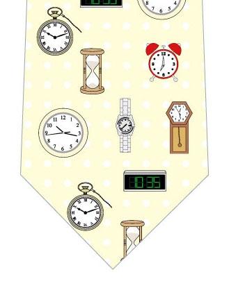 時計ネクタイ(黄色ドット)の写真