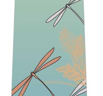 トンボと秋の草ネクタイ(寒色系)の写真