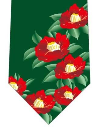 椿ネクタイ(深緑)の写真