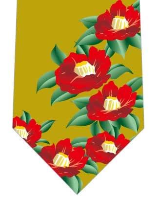 椿ネクタイ(黄土色)の写真