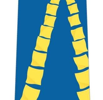 連なった黄色いハンカチネクタイ(ブルー)の写真