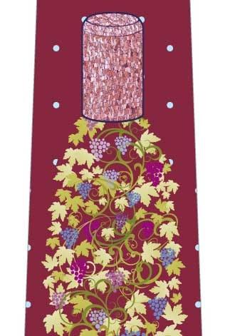 蔓とぶどうのワインボトルネクタイの写真