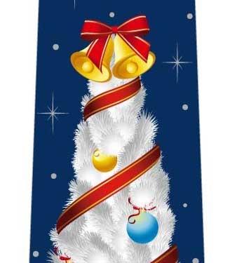 ホワイトクリスマスツリーネクタイの写真