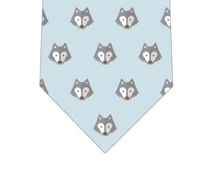 オオカミ並んだネクタイ(ブルー)の写真