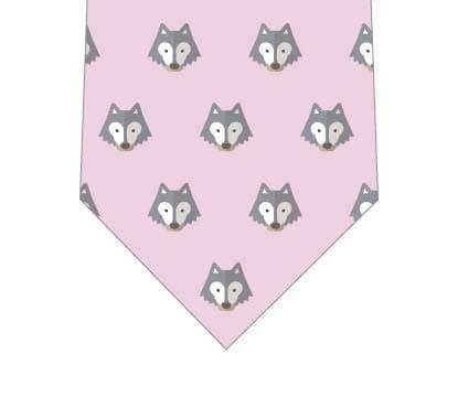 オオカミ並んだネクタイ(ピンク)の写真