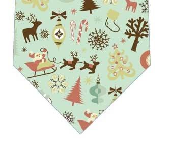 クリスマスは大忙しネクタイ(緑)の写真