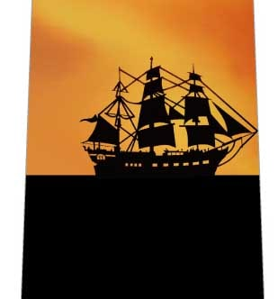 夕焼けのヨットネクタイの写真