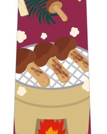 焼き松茸ネクタイ(ワイン色)の写真