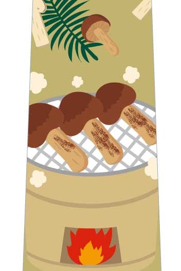 焼き松茸ネクタイ(黄土色)の写真