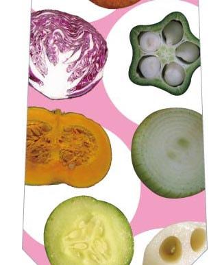 野菜断面ネクタイ(ピンク)の写真