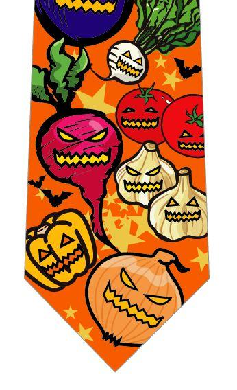 ハロウィンネクタイ(野菜おばけの行進)オレンジの写真