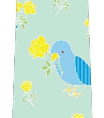 黄色い花を運ぶ鳥ネクタイの写真