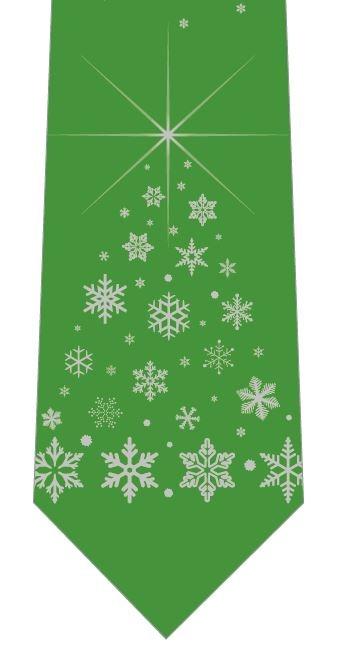 雪の結晶クリスマスツリー(緑)ネクタイの写真