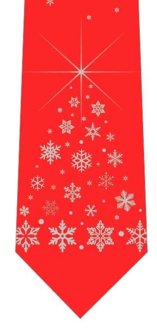 雪の結晶クリスマスツリー(赤)ネクタイの写真