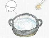 土鍋に水を入れご飯か片栗粉を入れる