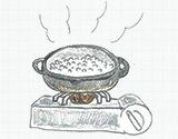 ご飯の場合はお粥をつくり、片栗粉の場合は沸騰させる