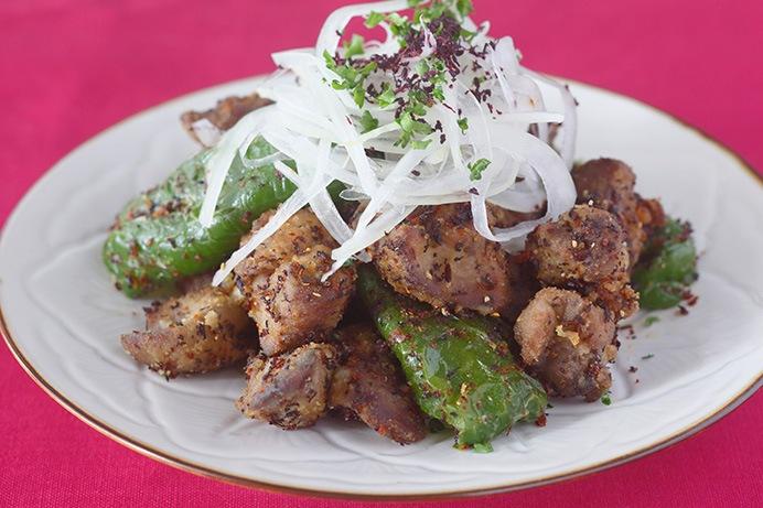 揚げ鶏レバー 赤紫蘇風味
