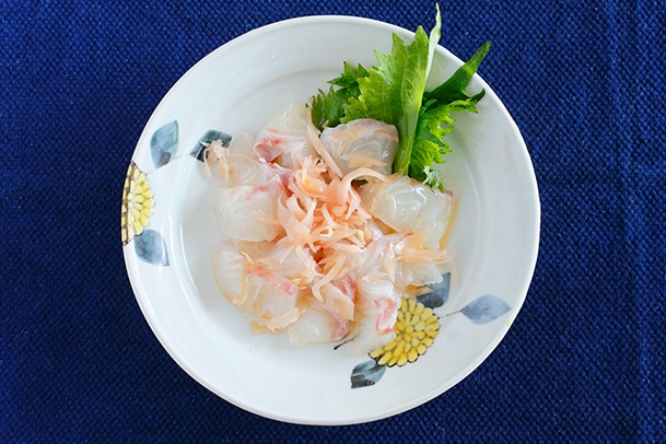 「鯛の新生姜カルパッチョ」