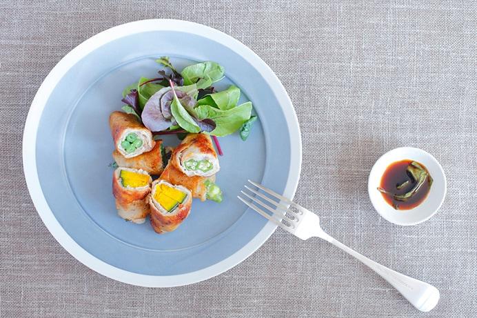 「夏野菜の肉巻きバジル醤油焼き」