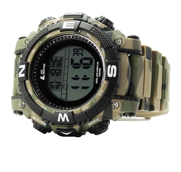 パワーソーラー搭載のデジタルウォッチ ソーラー時計 メンズ 腕時計 ソーラー充電 長期間の使用に耐える、迫力のデジタル・ミリタリーウォッチ[ LAD WEATHER ラドウェザー ]